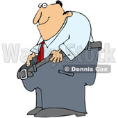 Clipart Man Smiling And Holding Out His Fat Pants - Royalty Free Vector Illustration © Dennis Cox #1088032