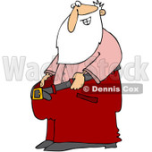 Clipart Thin Santa Holding Out His Big Pants After Losing Weight - Royalty Free Vector Illustration © djart #1088034