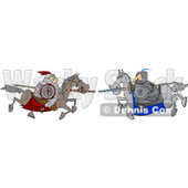 Clipart Jousting Knight Opponents Racing Towards Each Other With Lances - Royalty Free Vector Illustration © djart #1088321