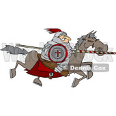 Clipart Medieval Jousting Knight Racing Forward With The Lance Down - Royalty Free Vector Illustration © Dennis Cox #1088322