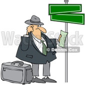 Clipart Lost Man Holding Directions Under Street Signs - Royalty Free Vector Illustration © Dennis Cox #1089369