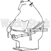 Clipart Outlined Fat Man Measuring His Belly Fat - Royalty Free Vector Illustration © djart #1089373