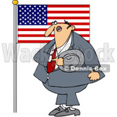 Clipart Man Pledging His Allegiance To The American Flag - Royalty Free Vector Illustration © djart #1089499