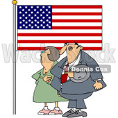 Clipart Woman And Man Pledging Their Allegiance To The American Flag - Royalty Free Vector Illustration © djart #1089500