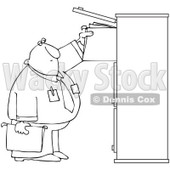 Clipart Outlined Businessman Reaching For Files In A Tall Cabinet - Royalty Free Vector Illustration © djart #1090022