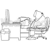 Clipart Outlined Businessman Pulling A Top Secret File From A Desk Cabinet - Royalty Free Vector Illustration © djart #1090023