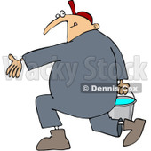 Clipart Plumber Carrying A Full Bucket Of Water - Royalty Free Vector Illustration © djart #1090024