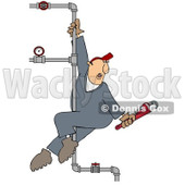 Clipart Male Plumber Playing On A Vertical Pole Of Pipes - Royalty Free Illustration © Dennis Cox #1090026