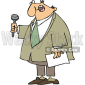 Clipart Male Master Of Ceremonies Holding A Microphone And Paper - Royalty Free Vector Illustration © djart #1090529