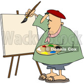 Clipart Chubby Artist Painter Working On A Blank Canvas - Royalty Free Vector Illustration © djart #1091962