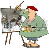 Clipart Chubby Artist Painter Working On A Winter Mountain Scene - Royalty Free Vector Illustration © Dennis Cox #1091964