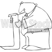 Clipart Outlined Businessman Reading A Long To Do List - Royalty Free Vector Illustration © djart #1091965