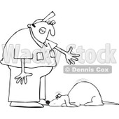 Clipart Outlined Man Yelling At A Bad Dog - Royalty Free Vector Illustration © djart #1091968