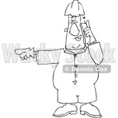 Clipart Outlined Worker Pointing Left And Talking On A Cell Phone - Royalty Free Vector Illustration © Dennis Cox #1091970