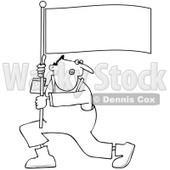 Clipart Outlined Man Shouting And Carrying A Flag - Royalty Free Vector Illustration © Dennis Cox #1091972