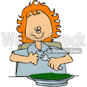 Clipart Happy Red Haired Girl Eating A Bowl Of Peas - Royalty Free Vector Illustration © Dennis Cox #1091973