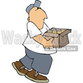 Clipart Man Carrying A Box Of Cans For Recycling - Royalty Free Vector Illustration © djart #1091974