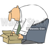 Clipart Business Man Bending Over To Pick Up An Open Box - Royalty Free Vector Illustration © djart #1091976