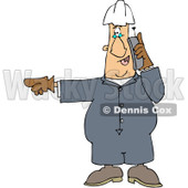 Clipart Worker Pointing Left And Talking On A Cell Phone - Royalty Free Vector Illustration © Dennis Cox #1091977
