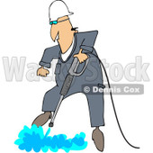 Clipart Worker Being Propelled Upwareds While Pressure Washing The Ground - Royalty Free Vector Illustration © djart #1091978