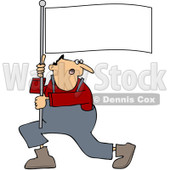 Clipart Man Shouting And Carrying A Flag - Royalty Free Vector Illustration © djart #1091981