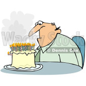 Clipart Depressed Middle Aged Man Sitting In Front Of A Birthday Cake With Smoking Candles - Royalty Free Illustration © djart #1093120