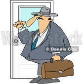 Clipart Door To Door Salesman Knocking - Royalty Free Vector Illustration © djart #1094163