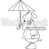 Clipart Outlined Dog Standing Upright In Rain Gear And Holding An Umbrella - Royalty Free Vector Illustration © djart #1095338