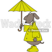 Clipart Dog Standing Upright And Holding An Umbrella - Royalty Free Vector Illustration © djart #1095339
