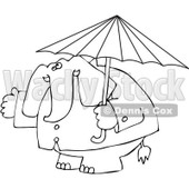 Clipart Outlined Elephant In A Rain Coat Under An Umbrella - Royalty Free Vector Illustration © Dennis Cox #1095547