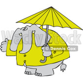 Clipart Elephant In A Rain Coat Under An Umbrella - Royalty Free Vector Illustration © djart #1095548