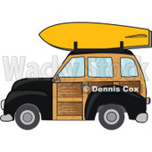 Clipart Black Woodie Station Wagon With A Surfboard On Top - Royalty Free Vector Illustration © Dennis Cox #1095766