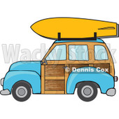 Clipart Blue Woodie Station Wagon With A Surfboard On Top - Royalty Free Vector Illustration © Dennis Cox #1095767