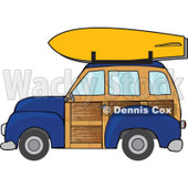 Clipart Navy Blue Woodie Station Wagon With A Surfboard On Top - Royalty Free Vector Illustration © djart #1095769