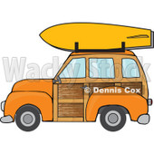 Clipart Orange Woodie Station Wagon With A Surfboard On Top - Royalty Free Vector Illustration © Dennis Cox #1095770