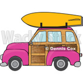 Clipart Pink Woodie Station Wagon With A Surfboard On Top - Royalty Free Vector Illustration © djart #1095771
