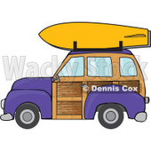 Clipart Purple Woodie Station Wagon With A Surfboard On Top - Royalty Free Vector Illustration © djart #1095772