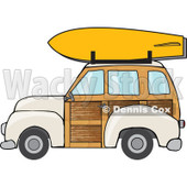Clipart Beige Woodie Station Wagon With A Surfboard On Top - Royalty Free Vector Illustration © djart #1095773
