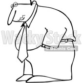 Clipart Outlined Depressed Businessman Hanging His Head Low - Royalty Free Vector Illustration © djart #1096552