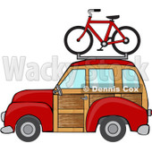 Clipart Red Woodie Station Wagon With A Bicycle On Top - Royalty Free Vector Illustration © Dennis Cox #1097239