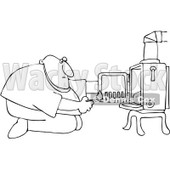 Clipart Outlined Kneeling Man In Front Of His Heat Stove To Light A Fire - Royalty Free Vector Illustration © djart #1098195