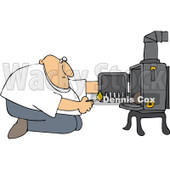 Clipart Man Kneeling In Front Of His Heat Stove To Light A Fire - Royalty Free Vector Illustration © djart #1098196