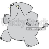Clipart Gray Elephant Running Upright - Royalty Free Vector Illustration © Dennis Cox #1098351