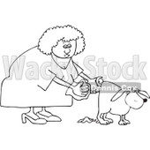 Clipart Outlined Woman Holding A Bag And Picking Up Dog Poop - Royalty Free Vector Illustration © djart #1098905