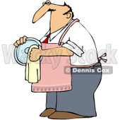 Clipart House Husband Drying Dishes - Royalty Free Vector Illustration © djart #1100921