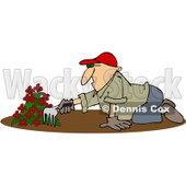 Clipart Man Raking Dirt In A Flower Garden - Royalty Free Vector Illustration © djart #1100923