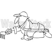 Clipart Outlined Man Raking - Royalty Free Vector Illustration © djart #1100924
