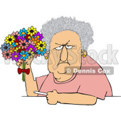 Clipart Grumpy Old Lady Holding A Bouquet Of Daisies And A Cigarette - Royalty Free Vector Illustration © djart #1101598