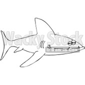 Clipart Outlined Sinister Shark With Sharp Teeth - Royalty Free Vector Illustration © djart #1101690