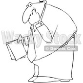 Clipart Outlined Businessman Holding Documents And Picking His Nose - Royalty Free Vector Illustration © djart #1101691